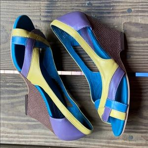 Leather Peep Toe Multi-Colored Wedges size 6.5